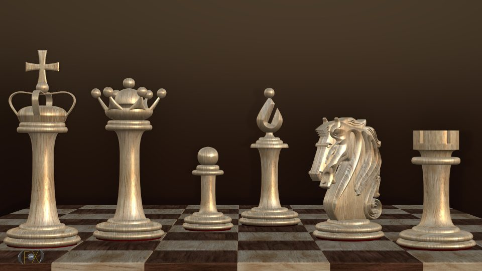 Chess Set 3D model made in Motion