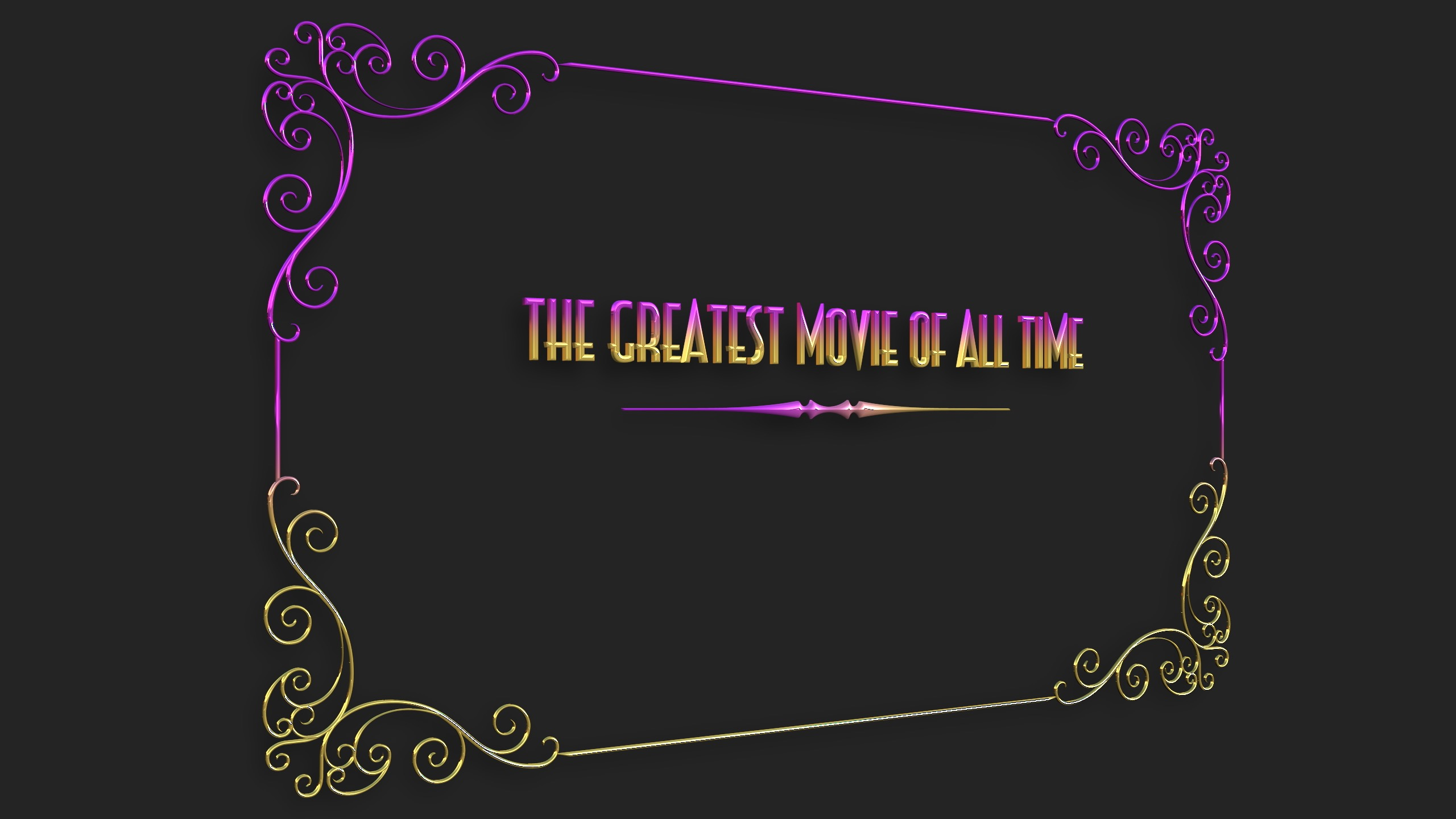 Intertitle 3D model example / purple and gold