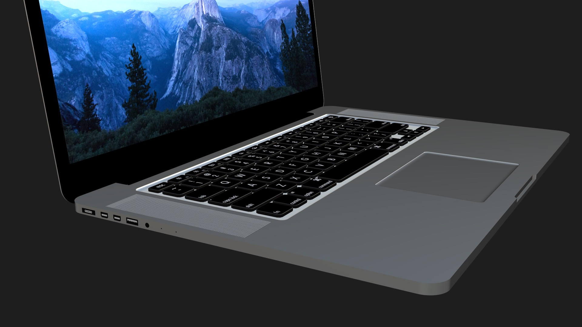 MacBook 3D Model Left View