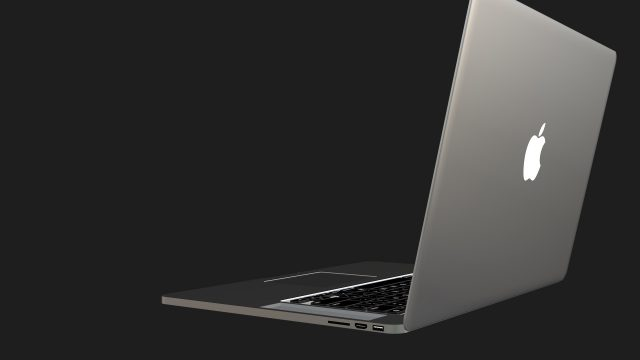 MacBook 3D model back right view