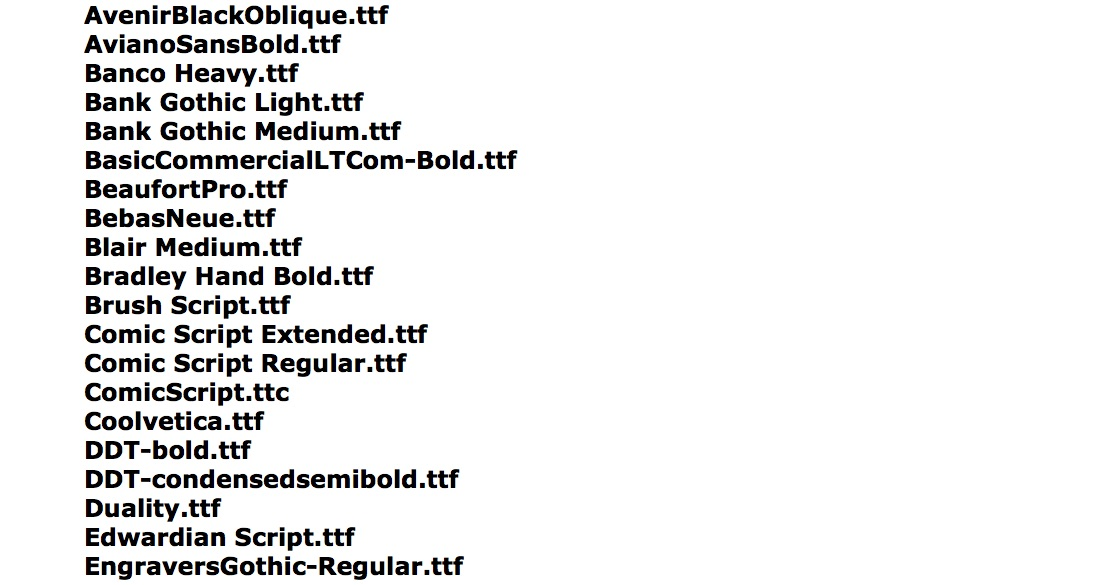 Fonts available inside Final Cut Pro X