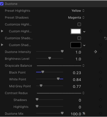 duotone parameters