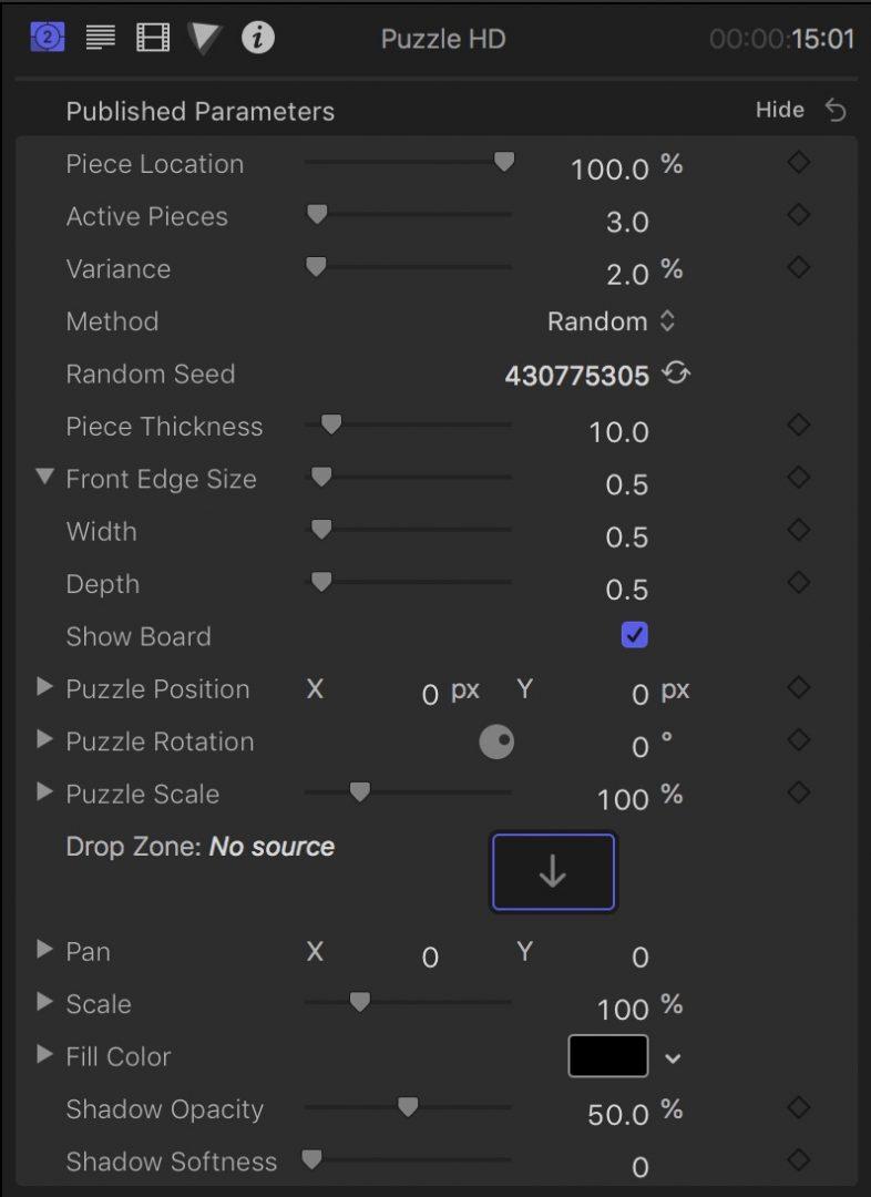 Puzzle HD Parameters