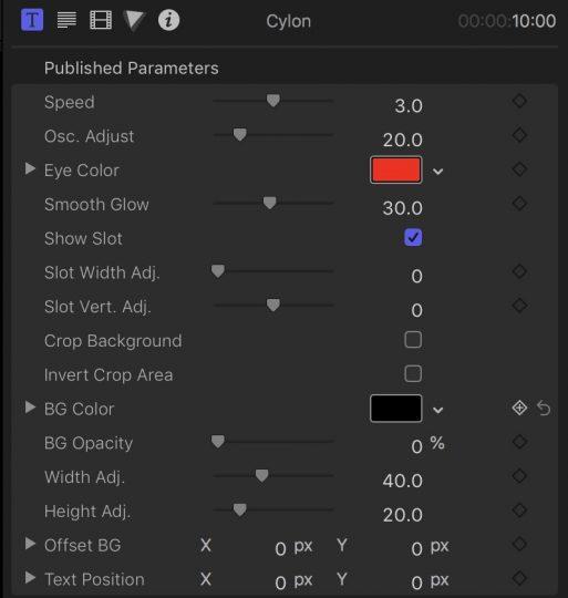 Cylon parameters