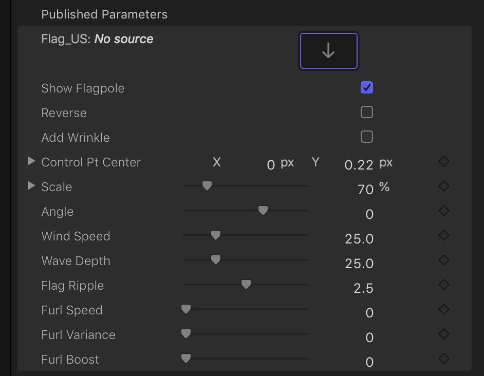 waving flag 2.1 parameters, default settings