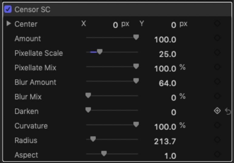 Censor SC parameters