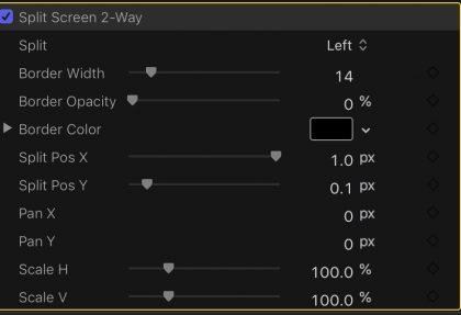 Split Screen parameters